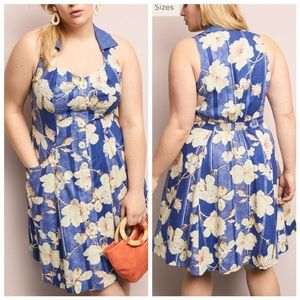 Anthropologie Camellia Collared Dress Plus Size